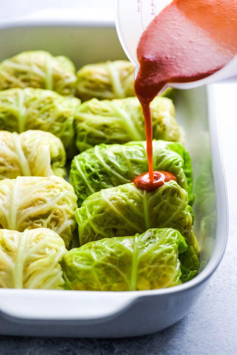 Low Carb Enchilada Cabbage Rolls #mexicanrecipeswithchicken