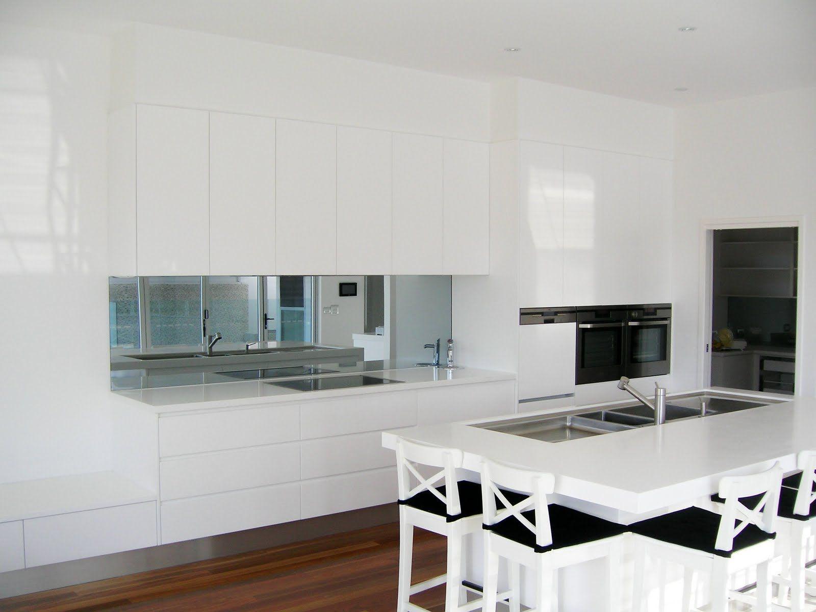 White Kitchen Mirror Splashback mirror splashback- defn make our kitchen look larger | kitchens
