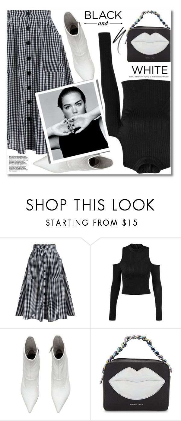"""black and white"" by svijetlana ❤ liked on Polyvore featuring Kendall + Kylie, Alasdair, Clé de Peau Beauté, blackandwhite, midiskirt, gingham and cutoutsweater"