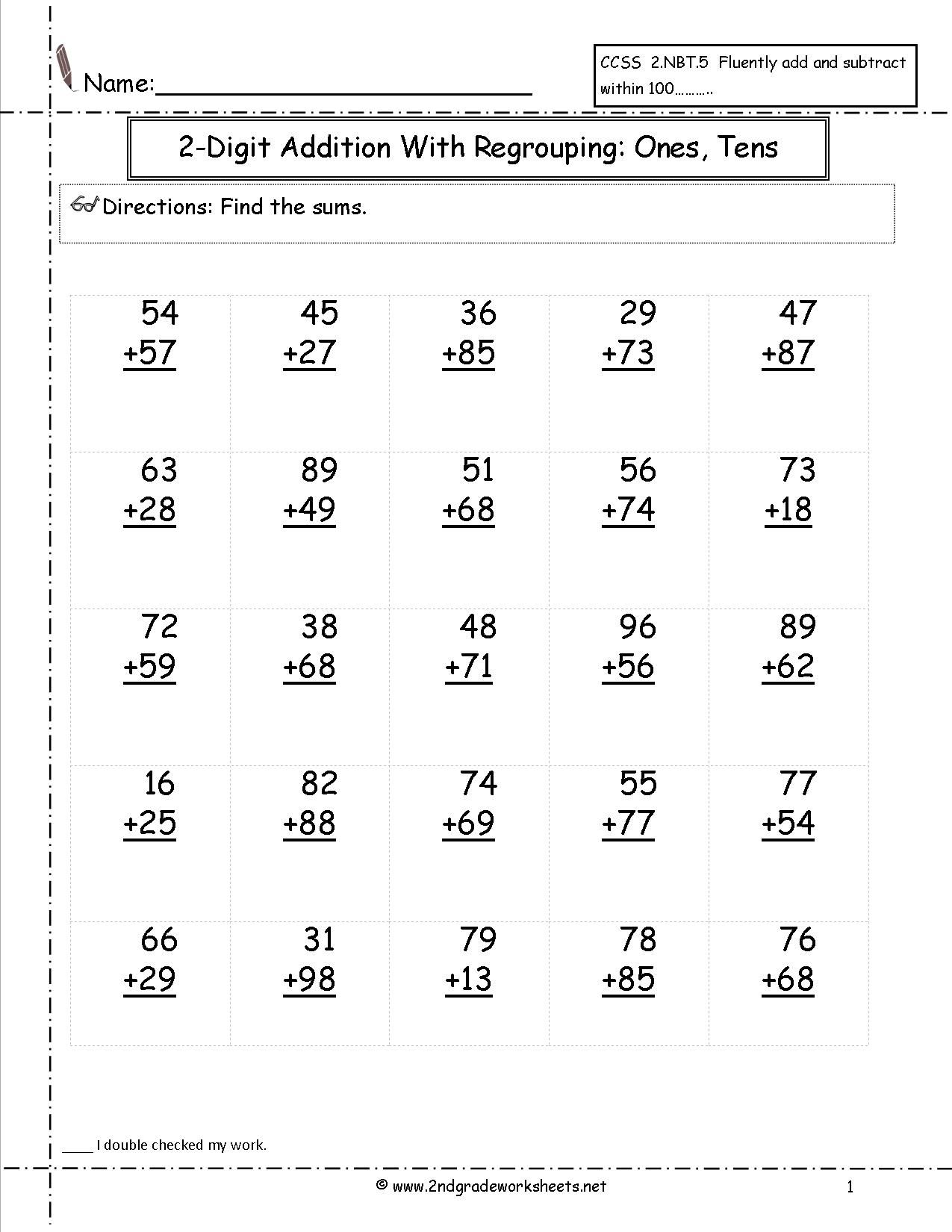 two digit addition ones and tens worksheet satta – 2 Digit Addition with Regrouping Worksheet