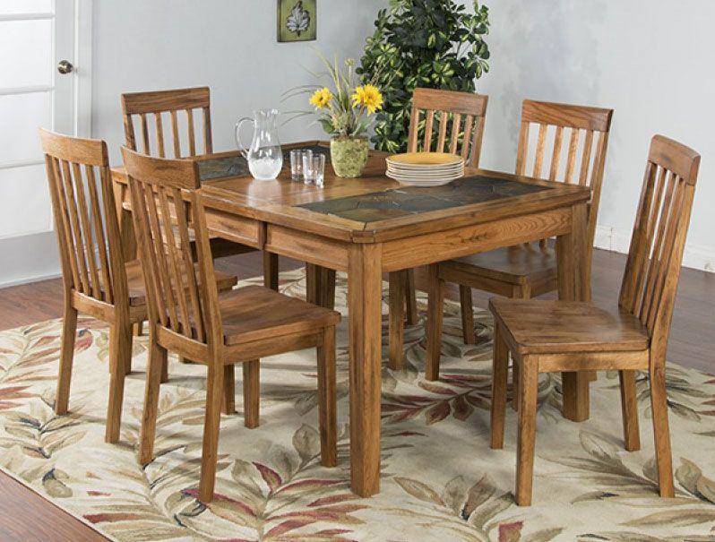Arizona Rustic Oak Slate Top Dining Table Set W 6 Chairs Oak