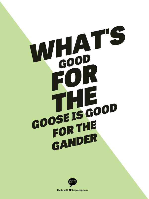 good for the goose is good for the gander