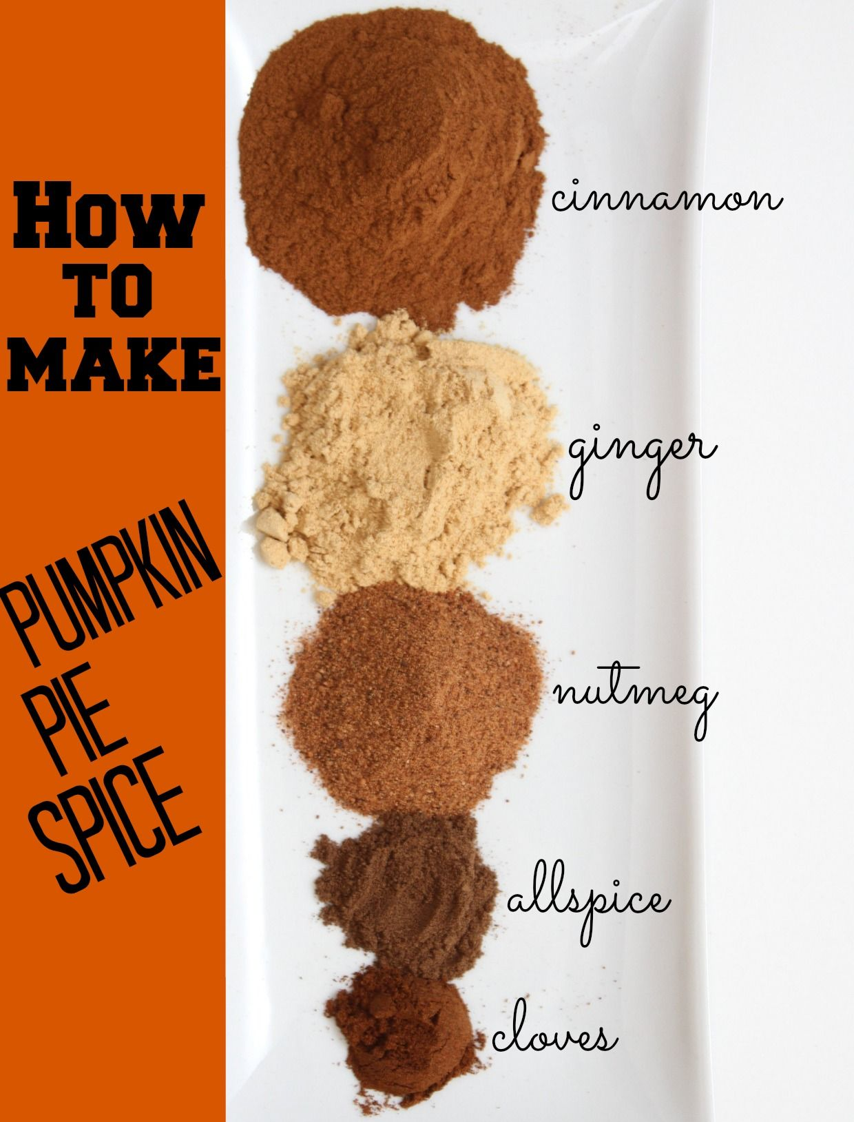 2 Tablespoons Cinnamon 1 Tablespoon Ground Ginger 2 Tsp Ground Nutmeg 1 2 Tsp Allspice 1 2 Tsp Ground Cloves Pumpkin Pie Spice Recipes Homemade Spices