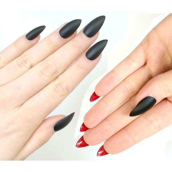 Doobys Stiletto Nails Black Matte Red Bottoms 24 Claw Point False ...