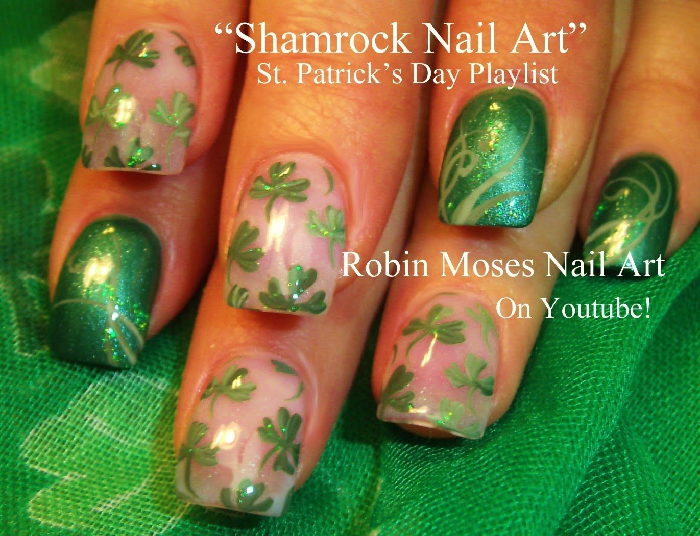 St Patricks Day Shamrock Nail Art Robin Moses Nail Art Videos