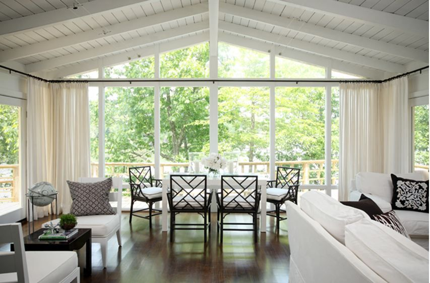 floor to ceiling windows: drop-dead gorgeous lake house interior a