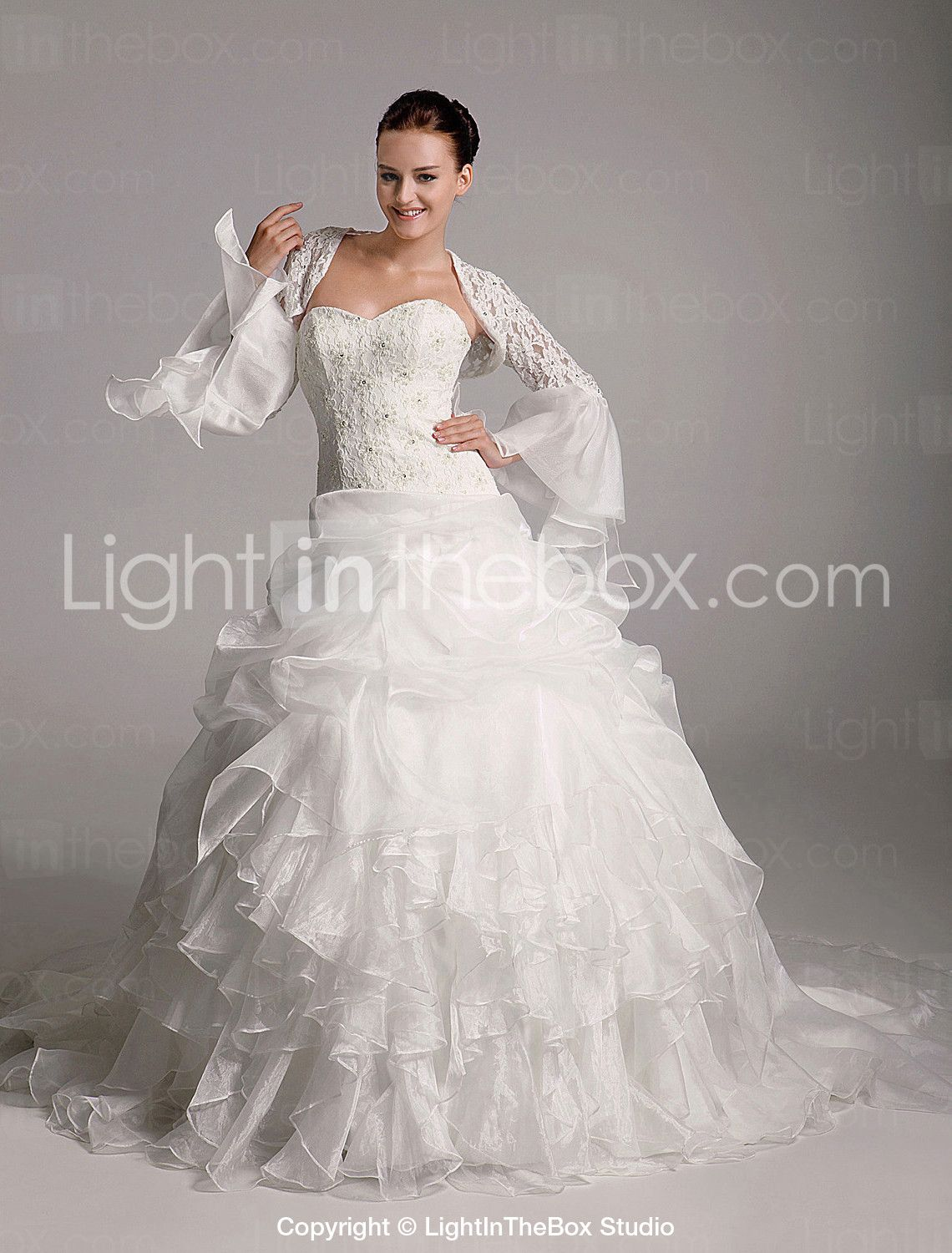 Ball Gown Sweetheart Court Train Organza Tiered Wedding Dress with Wrap - US$ 318.49