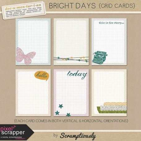 Bright Days Grid Journal Cards Kit pocket cards, journal cards
