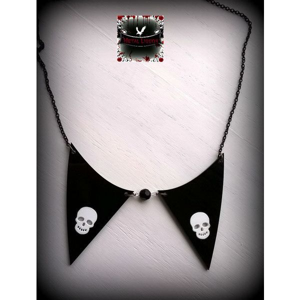 Skull Necklace Collar (€12) ❤ liked on Polyvore featuring jewelry, necklaces, gothic necklace, acrylic necklace, statement necklaces, statement choker necklace and goth choker
