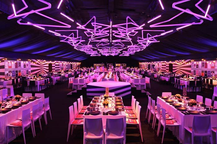 """Bounce installed PVC piping and VersaTubes on the ceiling at """"The Artist's Museum Happening"""" Museum of Contemporary Art gala, for a dramatic... Photo: Nadine Froger Photography"""