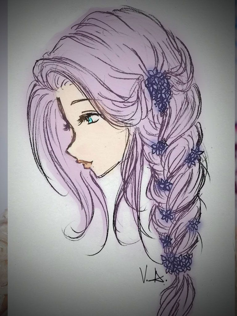 Tumblr Colorful Hair Images Hair Coloring Ideas - Hairstyle drawing tumblr