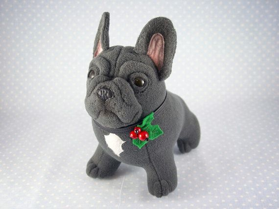 Ooak Blue French Bulldog In A Collar With Holly Decor By