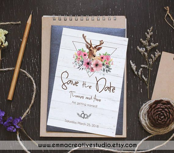 Save The Date Printable Deer Save The Date Postcard Template - Wedding invitation postcards templates