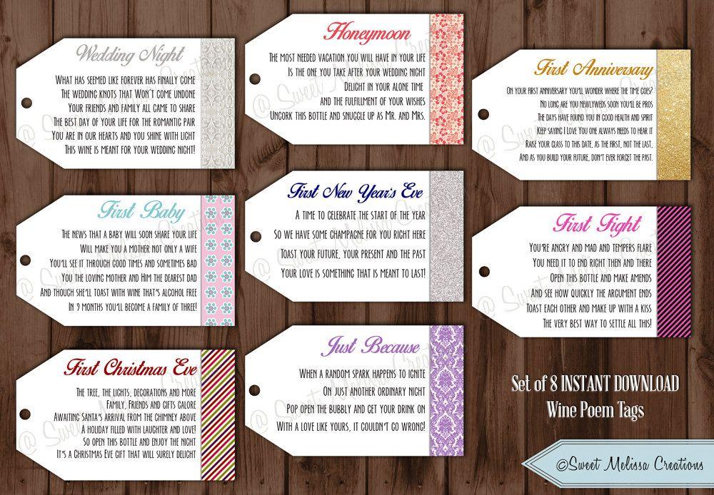 Wedding Gift List Poem: 1st Milestone Wine Tags Poems- Digital