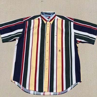 7dd9868bca Vintage 90 s Tommy Hilfiger Striped Button Up