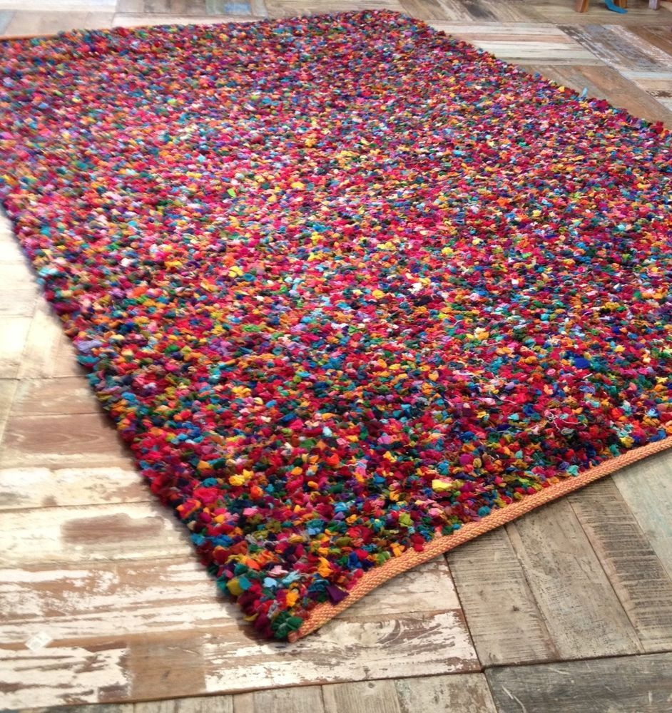 Fair Trade Recycled Multi Coloured Thick Tufted Cotton Rag Rug 150cm X 210cm In Home