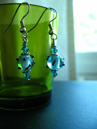 Bubble Blue Earrings' is going up for auction at  9am Tue, Jul 10 with a starting bid of $3.
