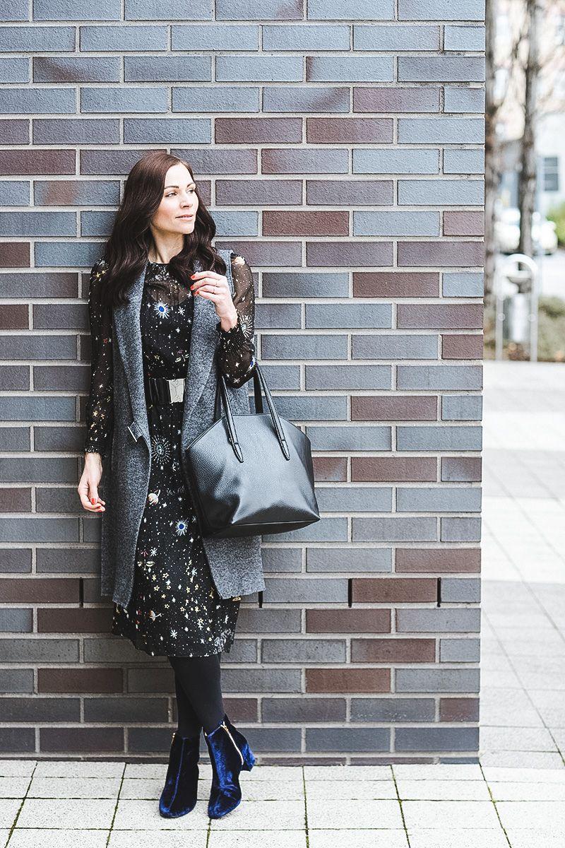 winter outfit mit midikleid, wollweste und & other stories