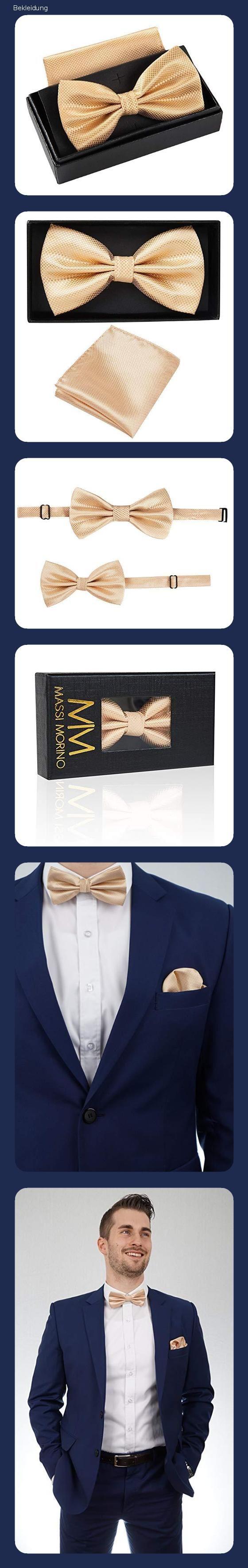 MASSI MORINO Verstellbar Fliege mit Einstecktuch inkl Geschenkbox