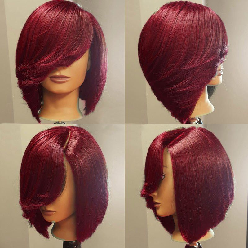 Short Deep Side Upward Part Straight Inverted Bob Synthetic Wig