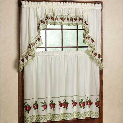 Beautiful Kitchen Curtains With Apple Motifs Curtains Kitchen