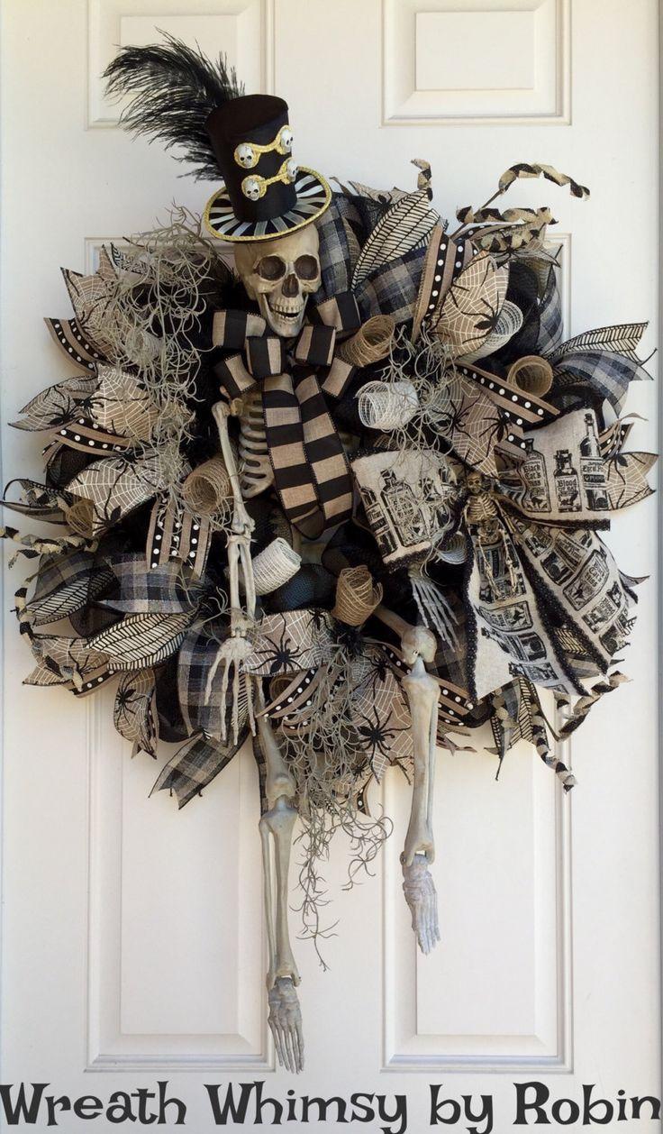 XL Halloween Skeleton Deco Mesh Wreath in Tan  Black, Front Door - Front Door Halloween Decoration Ideas