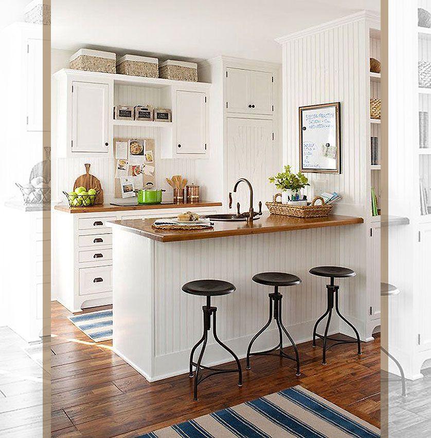 Cozinha pequena com pegada campestre e bancadas de madeira for Cocinas campestres pequenas