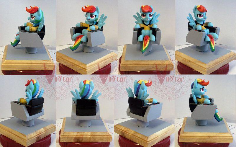 #614753 - artist:viistar, captain kirk, captain's chair, idw, rainbow dash, safe, sculpture, star trek - Derpibooru - My Little Pony: Friendship is Magic Imageboard