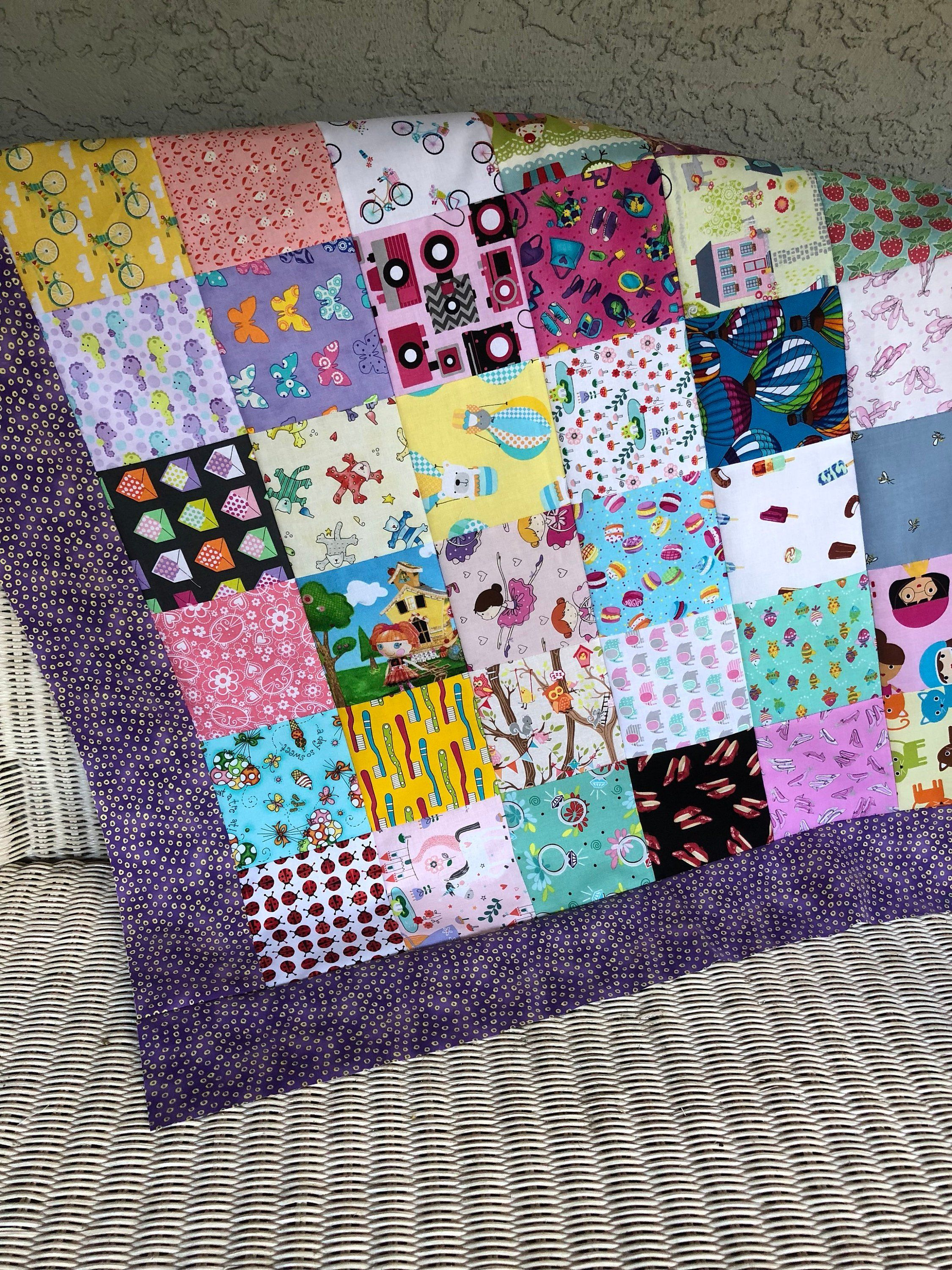 Ispy Quilt Top - Girl Unfinished Baby Bedding, Ready To -5068