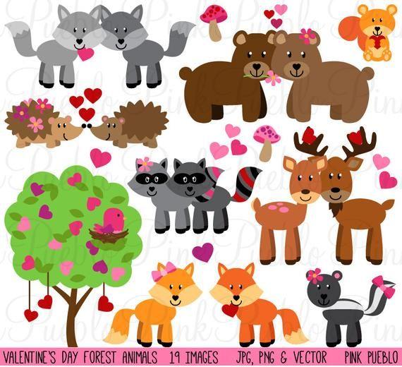 Valentine S Day Animals Clipart Clip Art Valentine Forest Etsy Animal Clipart Animal Valentine Valentine Wall Art