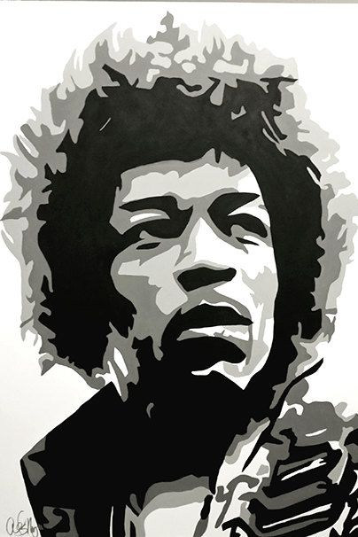 Jimi Hendrix Musician Art Pop Art Caricature Artist