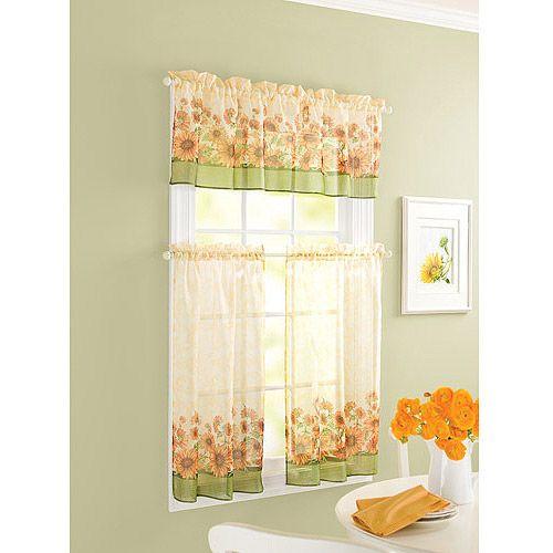Sunflower Theme Kitchen Curtains Windows Walmart Sunflower