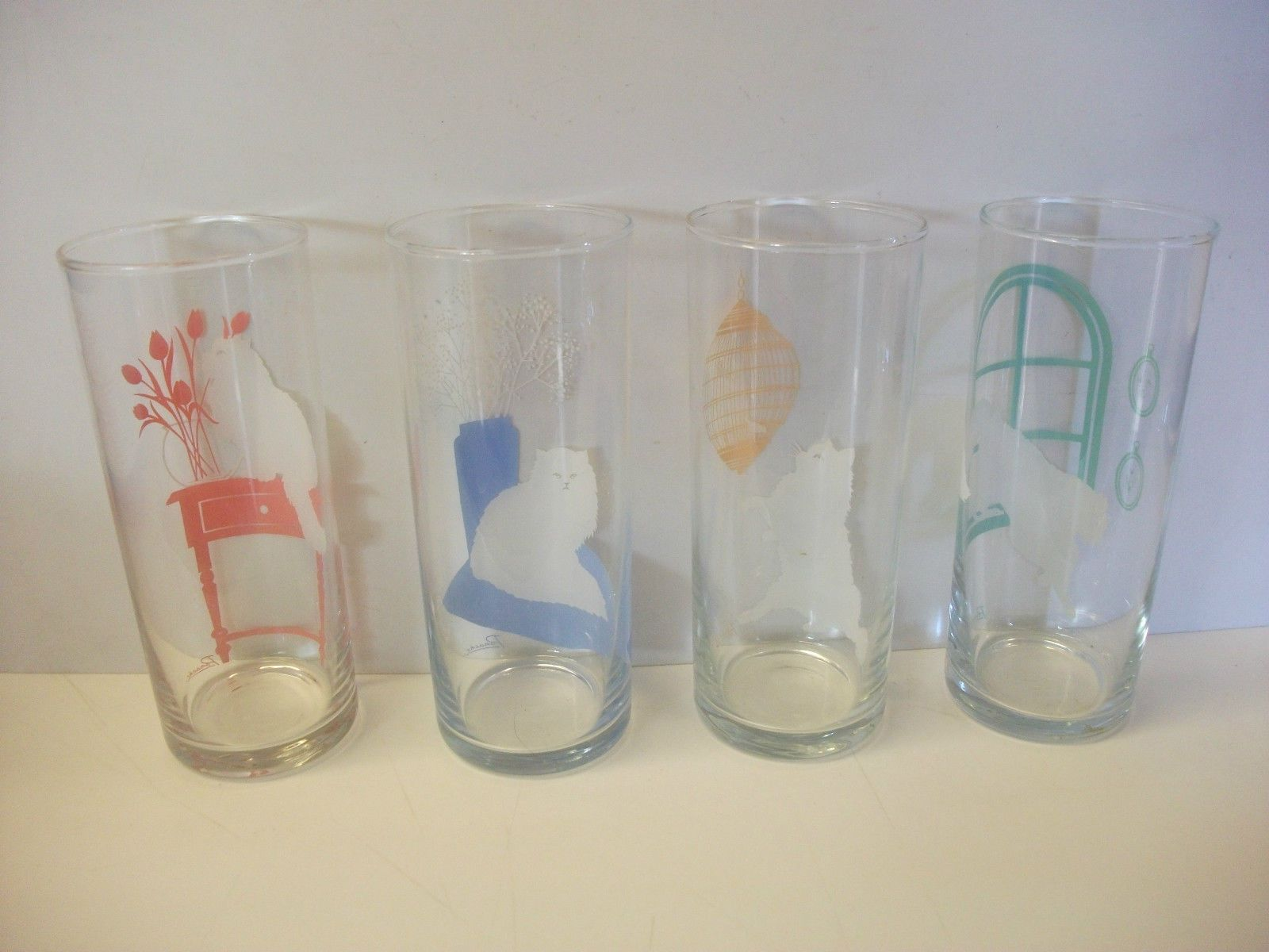 Drinking Glasses Designs Details About Vintage Set Of 4 Panache Drinking Glasses