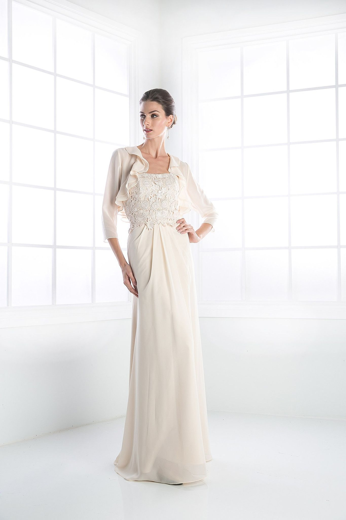 Plus size jacket dress for wedding  An elegant modest mother of the bridegroom gown features a