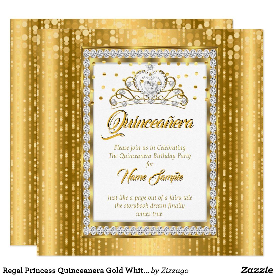 Regal Princess Quinceanera Gold White Diamond Invitation 15th