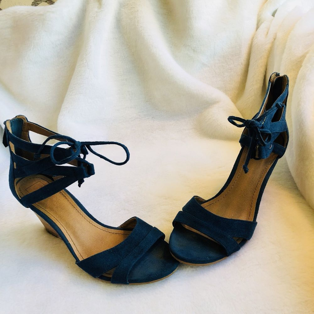 fd0d1f4b7a60 14th and union Strappy Sz 8 Suede Navy Wedges  fashion  clothing  shoes   accessories  womensshoes  heels (ebay link)