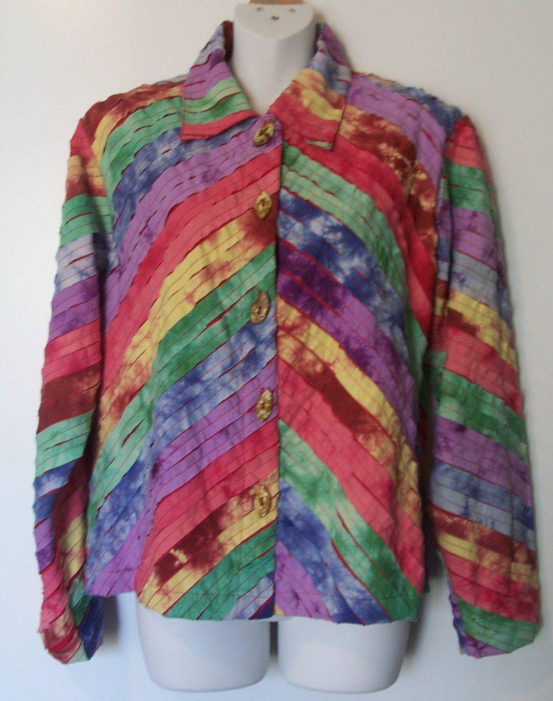Wearable Art Tie Dye Jacket Diagonal Fabric Strips Coconut Buttons Small K. Hart #KerenHart #CasualBoxyLightweight