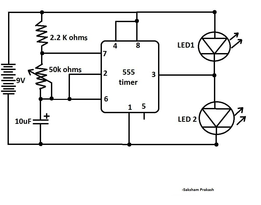 Circuito Astable 555 : Blink two leds alternatively with ic classic ic circuit