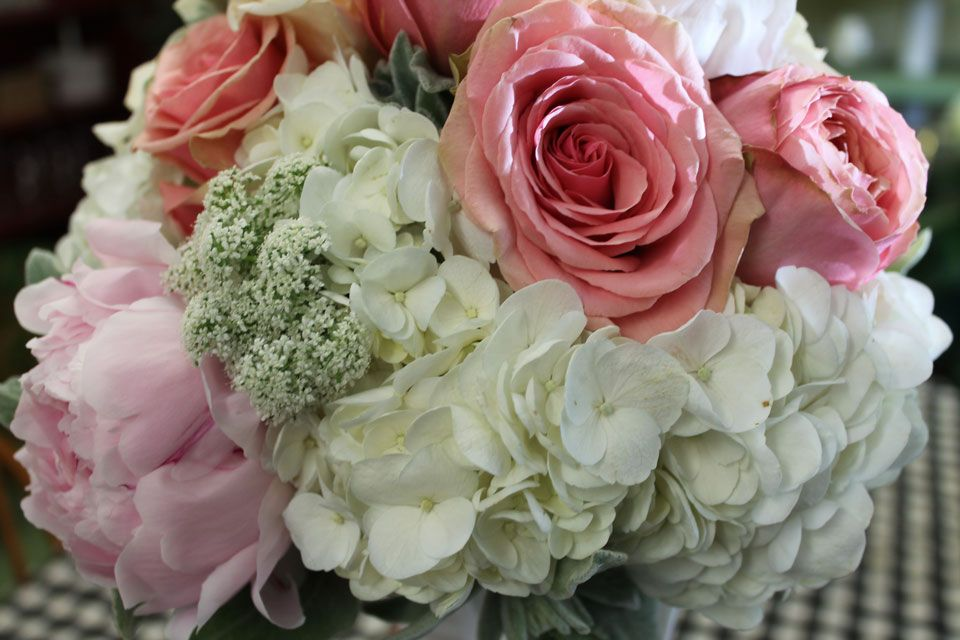 bridal bouquet with hydrangea stock roses garden rosesspray roses ranunculus bupleurum maiden hair fern seeded eucalyptus and dusty miller - Garden Rose And Hydrangea Bouquet