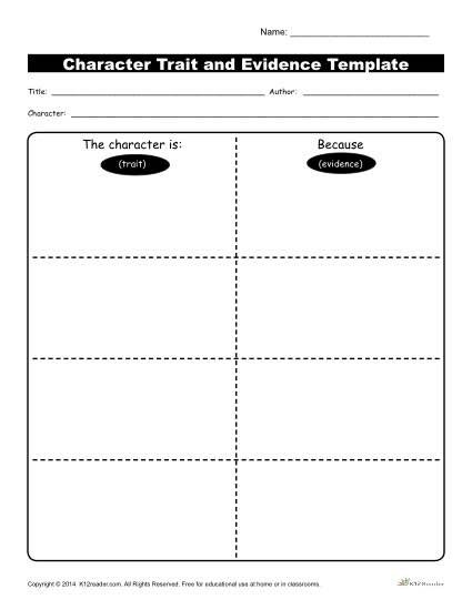 Character Traits Workshsheets