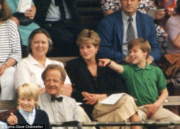 Miss Webb (left) next to Princess Diana and Prince William at Prince Harry 's school sports day in 1992