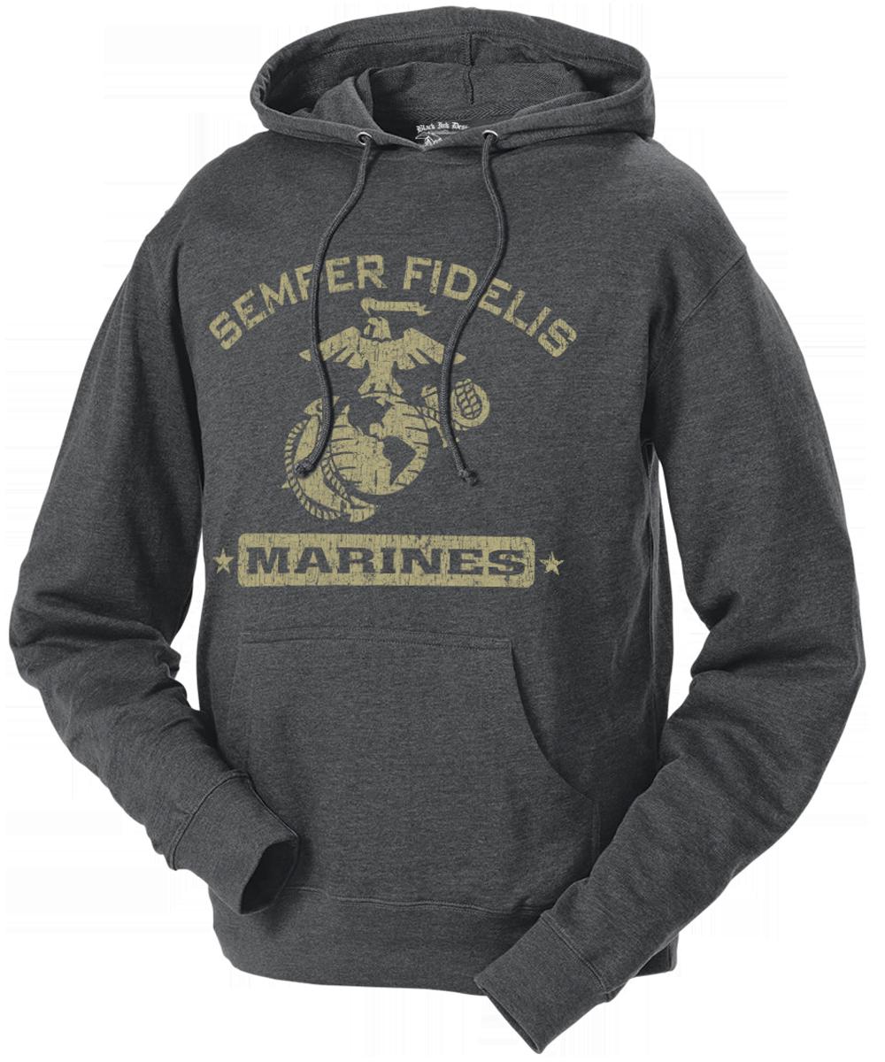 USMC Marines Champion Black Performance Quarter-Zip Fleece