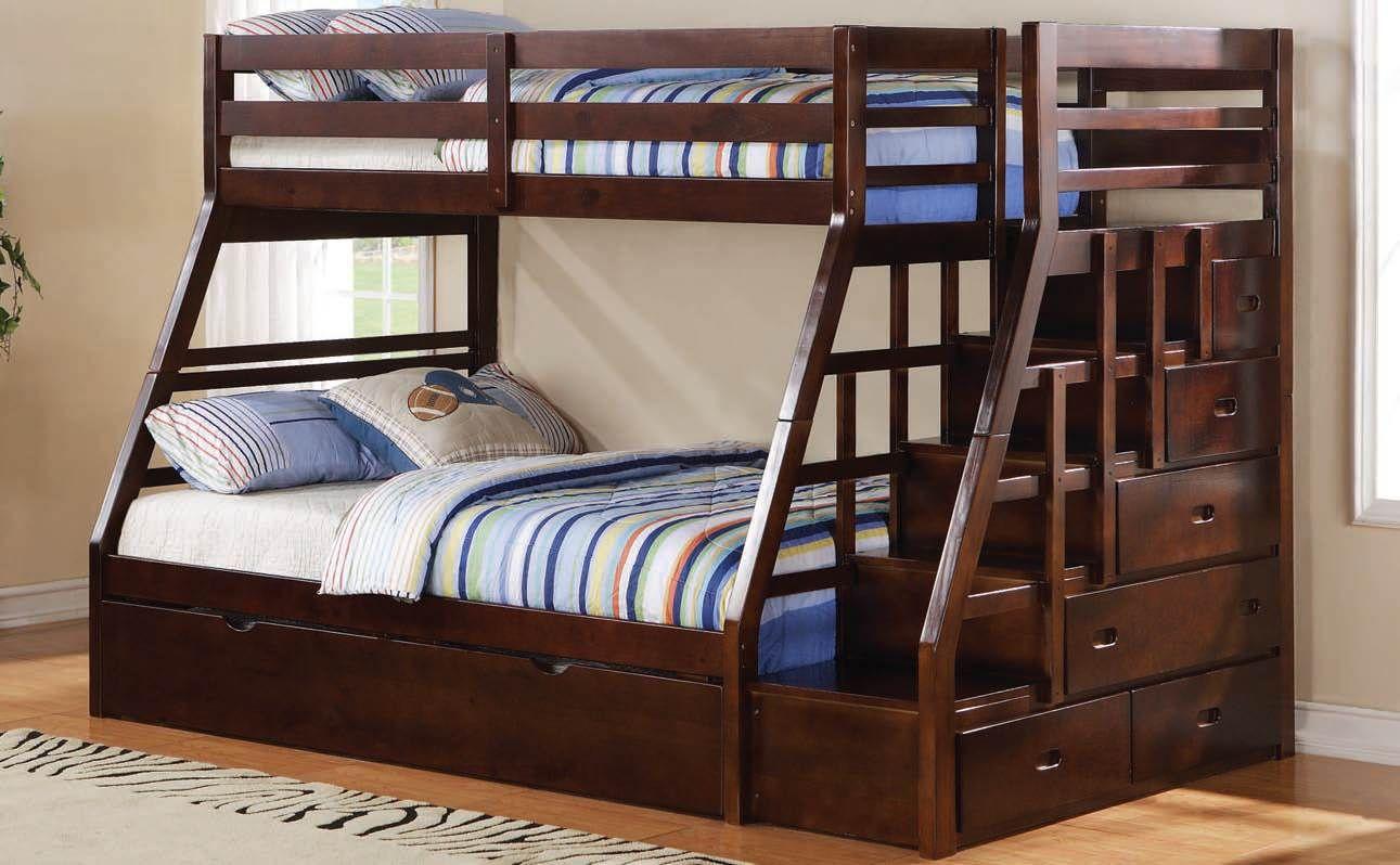 Jason Espresso Twin Full Bunk Bed W Storage Ladder Bunk Beds