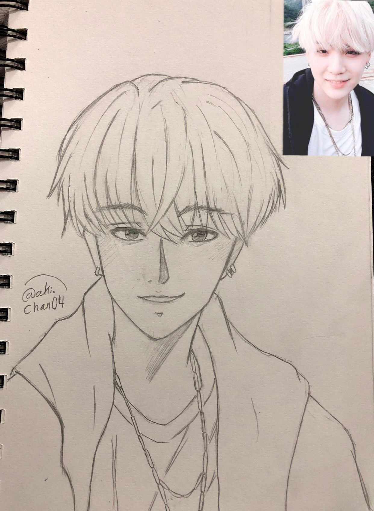 My Drawing Suga From Bts Suga Bts Drawings Boy Kpop Idol My Drawings Drawing S Drawings
