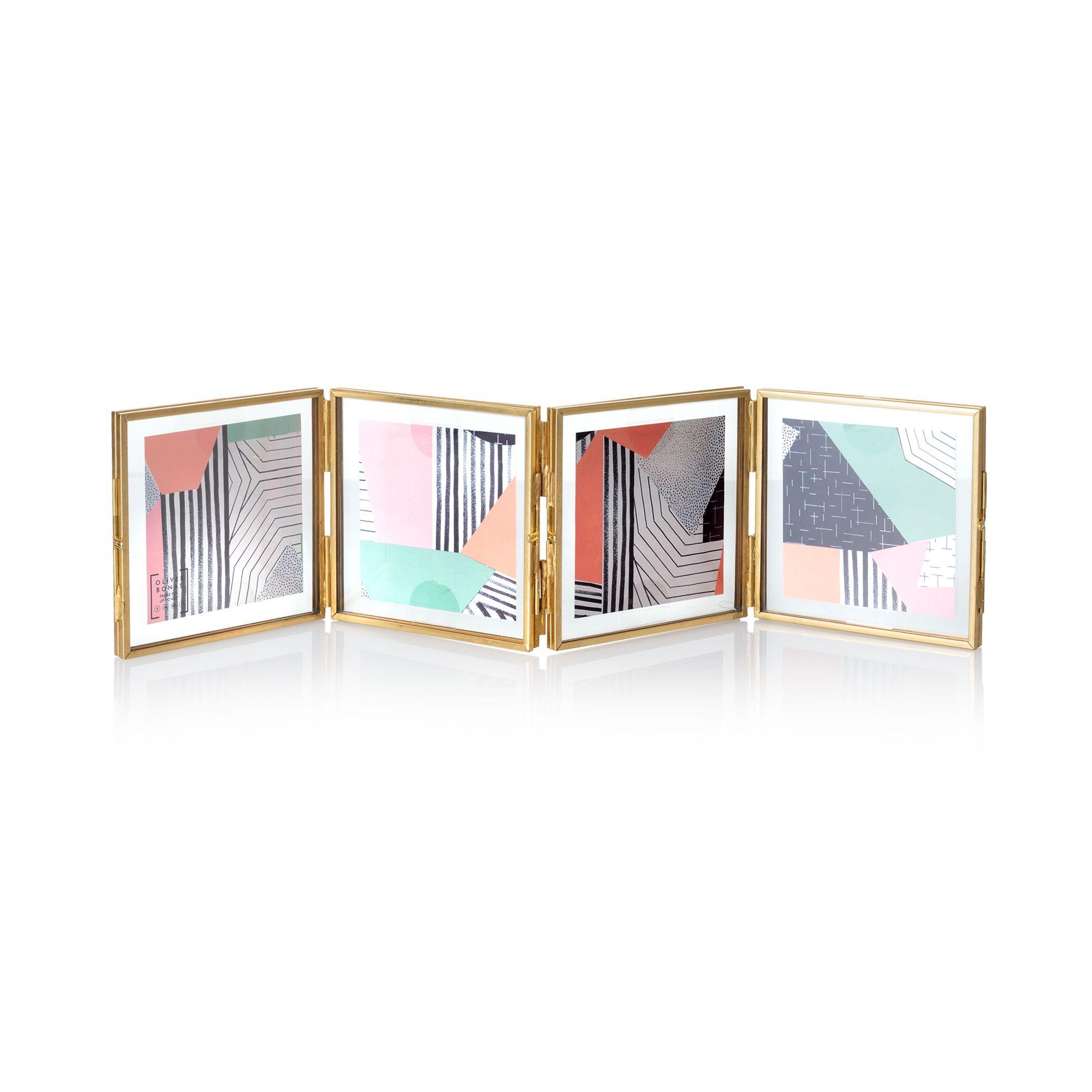 Buy the Gold & Glass Mini Square Multi Frame 4 x 4\