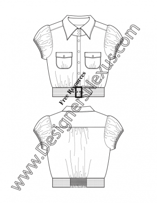Illustrator Flat Sketches Download V9 Gathered Puff Sleeve Cropped Blouse Flat Sketches Fashion Design Portfolio Sketches