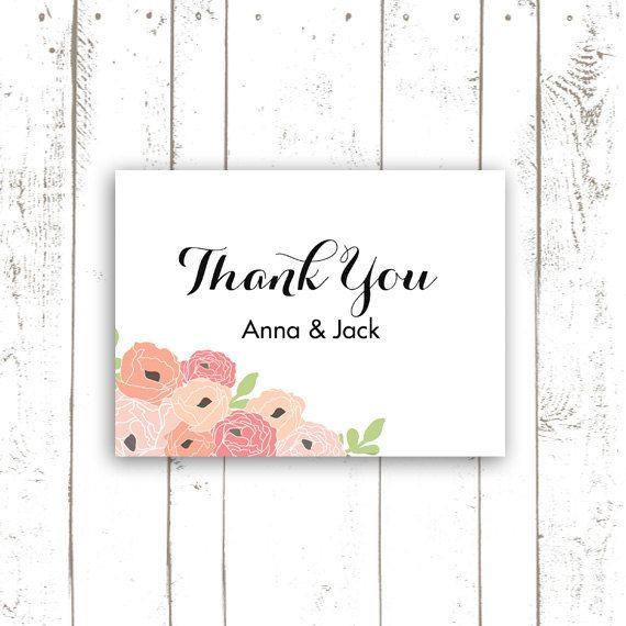Printable Thank You Card Wedding Thank You by MooseberryPrintShop, $64.00