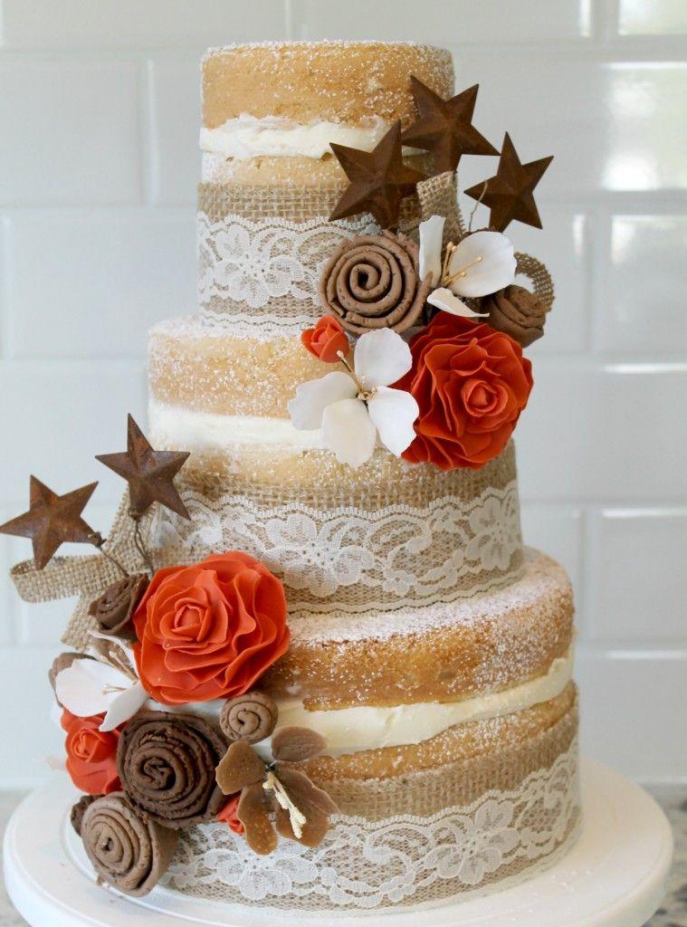 Burlap and Lace Wedding Cake how to make fondant ranunculus