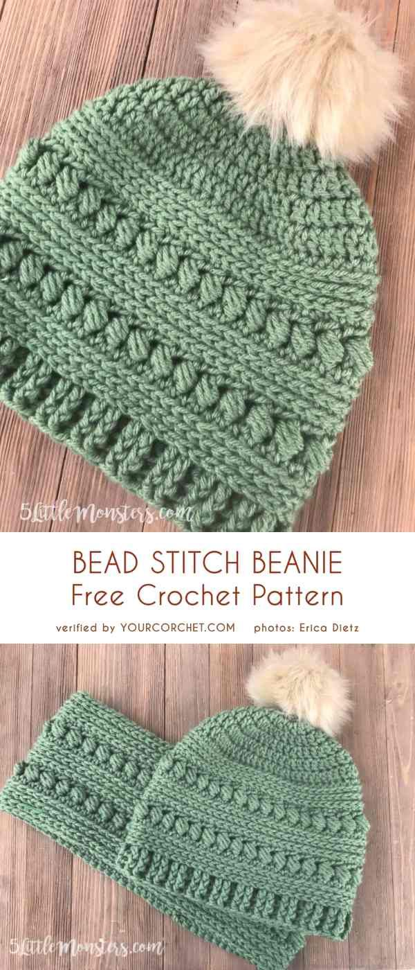 Bead Stitch Beanie Free Crochet Pattern #crochetstitches