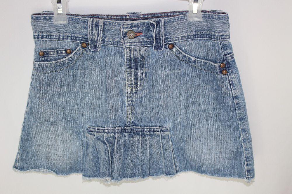 Old Navy Brand Blue Jeans Denim Skirt Ultra Low Pleats Size 4 #OldNavy #Mini